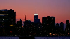 Sunset view over Chicago Landscape, USA - stock footage