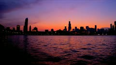 Sunset Panorama Chicago cityscape, USA - stock footage