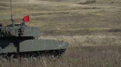 Military, slo-mo (true slomotion 240 FPS) leopard 2A4 tank firing main gun tight Stock Footage