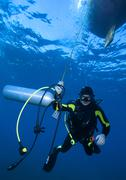 Diver with additional tank, cuba Stock Photos