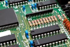 Fragment of a computer printed-circuit-board Stock Photos