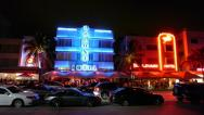 Stock Video Footage of Miami South Beach Ocean Drive at night pan 24p
