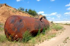 the old railway tank for transportation of mineral oil - stock photo