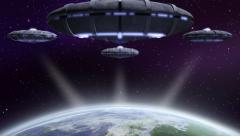 UFO flying above Earth Stock Footage