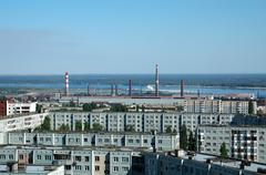 Russia kind on the city of volgograd from height Stock Photos