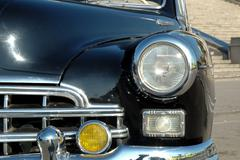 The right headlight of the old automobile Stock Photos