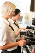 Waitresses at work make coffee machine cafe Stock Photos