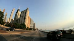 P.O.V. driving into city of Chicago, USA - stock footage