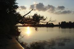 Sunset at the river Stock Photos
