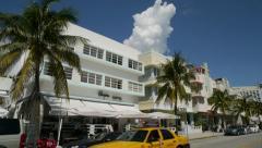 Miami South Beach Ocean Drive tilt down 30p Stock Footage