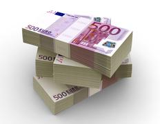 Euro Bills Packs (with clipping path) - stock photo
