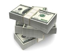 Dollar Bills Packs (with clipping path) Stock Photos