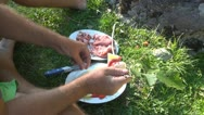 Stock Video Footage of Barbecue, Preparing Skewers for Grill, Bbq