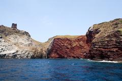 geological formations, capraia island - stock photo