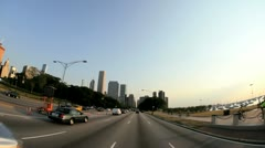 P.O.V. driving city of Chicago, USA, T/lapse Stock Footage