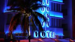 Miami South Beach Ocean Drive at night neon rack focus 24P Stock Footage