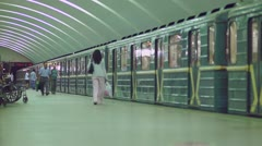 Moscow rapid transit station. Arriving and departuring trains - stock footage