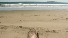 Beach Waves and Sandy Feet Stock Footage