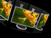 Computer monitor on black background Stock Illustration