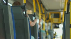 Ride on modern city bus Stock Footage