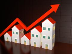 Group of houses on sale Stock Illustration
