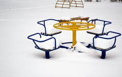Children's play area in winter Stock Photos