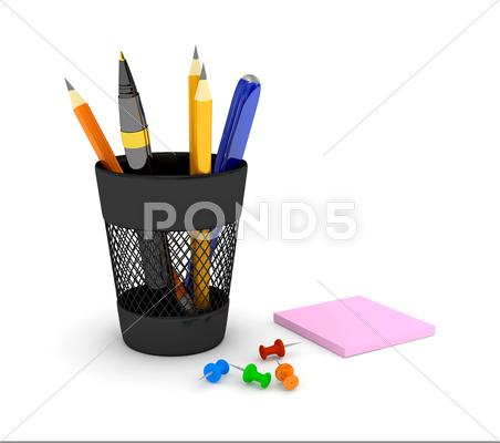 Stock Illustration of glass with pencils