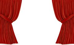 Red curtains over white Stock Illustration