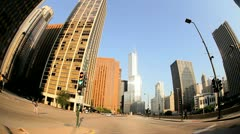 Point of view driving city traffic, Chicago, USA Stock Footage