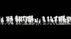 CARTOON CHARACTERS WALKS ON A BLACK SCREEN fast Stock Footage