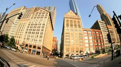 P.O.V. driving city traffic, Chicago, USA - stock footage