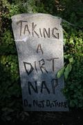 Tombstone 'taking a dirt nap' Stock Photos