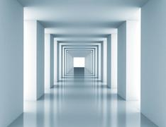 Tunnel with white wall Stock Illustration