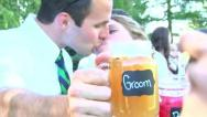 Stock Video Footage of Bride and Groom Cheers 1