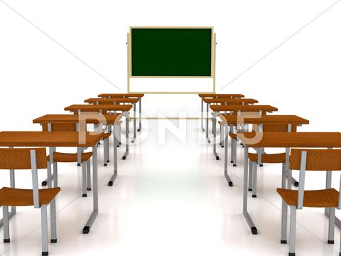 Stock Illustration of audience with desks over white background