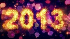 New year 2013 greetings glowing yellow particles loop Stock Footage