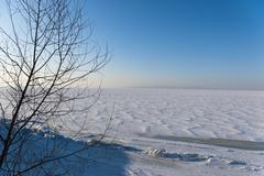 winter morning scenery - stock photo