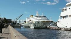 Moored cruise ships on Saint-Petersburg English embankment, Russia Stock Footage