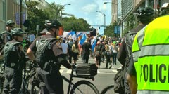 Police watch protesters in charlotte democratic national convention 2012 02 Stock Footage