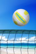 volleyball on beach at sunny day - stock photo