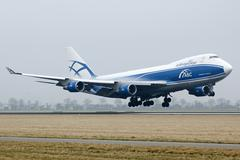 AirBridgeCargo boeing 747 plane landing - stock photo