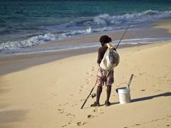 fishing on beach - stock photo