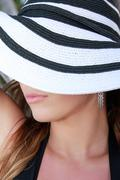 woman in summer hat - stock photo