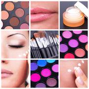 Bodycare and make-up collage Stock Photos