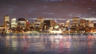 Stock Video Footage of Montreal City Skyline Time Lapse at Night 01