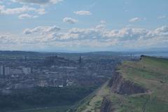 HDR of Arthur Seat and Edinburgh - stock photo