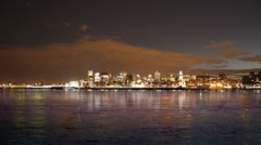Montreal City Skyline Time Lapse at Night 02 - stock footage