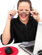 Stock Photo of smilling businesswoman with glasses in hands