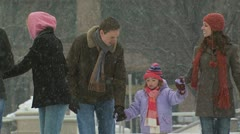 A family skating together Stock Footage