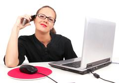Businesswoman talking by phone Stock Photos